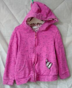Girls F&F Dusky Pink Black Fleck Bunny Pocket Hooded Jacket Hoodie Age 6-7 Years
