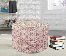 Mandala Pouf Cover Brown Ottoman Cotton Floor Pillow Boho Decorative Footstool