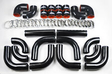 "Universal High Quality 2.5"" ALL Black Intercooler 12pc Piping Kit Aluminum"