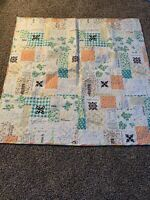 Vintage  Handmade Quilted Cotton Quilt  measures  51 x 52 cover patchwork