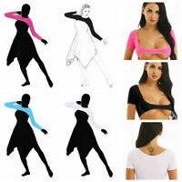 Womens Belly Dance Costume Short/Long Sleeves Mesh Sheer Crop Top Shirt Blouses