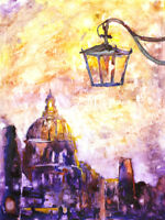 Venice, Italy watercolor painting (print).  Church in Venice, Italy painting