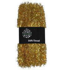Christmas Tree Decoration 50ft x 3cm Tinsel Great Value - Gold