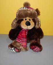 "Hug & Luv 16"" Huggable Winter Fleece Knit Hat & Scarf Teddy Bear Stuffed Plush"