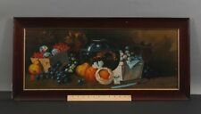 Antique Thanksgiving Feast Fruit Still Life & Goldfish Chromolithograph Print