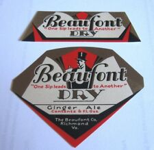 Rare Home Beer - Brewing 6Oz Bottle Label Beaufont Ginger Ale Soda Richmond Va