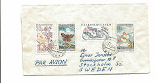1963 Czechoslovakia airmail cover to Sweden  butterfly  motorcycle