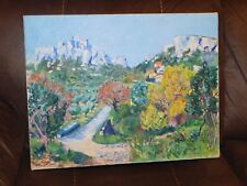 UNFRAMED OIL PAINTING ON CANVAS OF A FRENCH LANDSCAPE by JANE WILLIAMS 1976