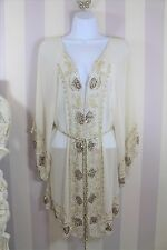 River Island Pacha Sheer Embroidered beaded Sexy Ibiza Beach Cover Up Kimono M