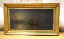 Fine Large 19th Century Dutch Ships Fire Moonlit Marine Oil Antique Oil Painting