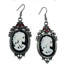 Bone Cameo Skeleton Girl Earrings Gothic Victorian Steampunk Industrial Grunge