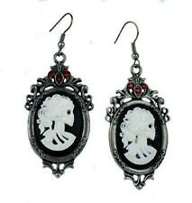 Bone Cameo Skeleton Girl Earrings Gothic Victorian Steampunk Industrial Grunge