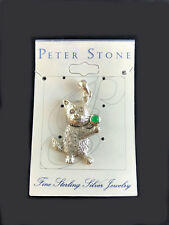 Standing Kitty Cat Pendant Emerald Glass 925 Sterling Silver by Peter Stone NWT