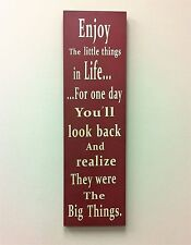 """Red Enjoy the little things in life Wood Wisdom box Sign 27""""H x 8""""L NWT"""