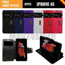 "Funda soporte libro ventana Apple IPHONE 6S 4.7"" + protector cristal opcional"