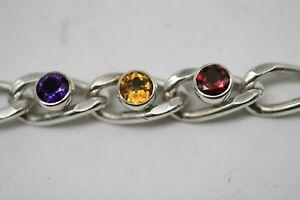 Vintage  Sterling Silver Curb Bracelet GARNET CITRINE AMETHYST A19