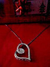 """14K White Gold & Diamond Heart Pendant Necklace Signed KS 14K  16""""   3.23grams"""