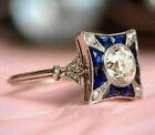 Antique Vintage Retro Art Deco Engagement Ring 14K White Gold Over 1.4Ct Diamond