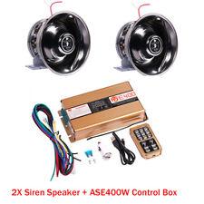2x  8 Sound Warning Alarm Police Fire Siren Horn PA Speaker +ASE400W MIC System