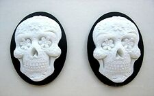 2 Goth Emo Day of Dead WHITE SUGAR SKULL w/ FLOWERS on BLACK 40mm x 30mm CAMEOS