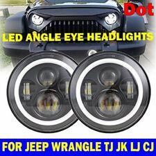 "Pair 7"" LED Headlights Sealed Driving Lamp Angel Eyes for Toyota FJ Cruiser Ford"