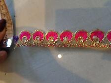 2cm breite Borte gold mit Pink, Strass und Perlen NEU
