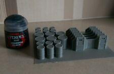 *SCENERY* 15mm scale barricades & barrels - Flames of War etc.