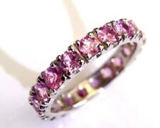 2.85CT Natural Pink Sapphire 14K White Gold Eternity Wedding Ring Stacking Band