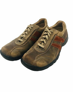 Skechers Men's Brown Leather Sneakers 60306 Size 9 Orange Stripes Outdoor Shoes