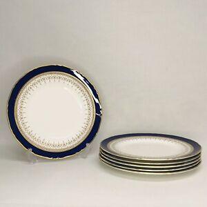 """6 x Royal Worcester Regency Cobalt Blue & Gold Salad Plates (8"""" / 20.5cm)"""