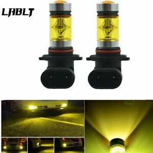 2 PCS 9005 HB3 H10 9145 100W LED 4300K YELLOW Projector Fog Driving Light Bulbs