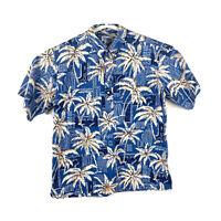 Reyn Spooner XL Hawaiian Aloha Friday Floral Button Down Shirt Blue Palm Trees