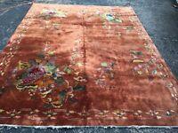 Antique Oriental Rug - Chinese 9x12 - Copper - Art Deco - handmade - wool