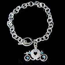 Blue Cinderella Wedding w Swarovski Crystal Pumpkin Carriage Coach Bracelet New