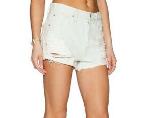 Agolde Shorts Womens Denim Parker Cut Off Short Button Fly Blanche Size 29