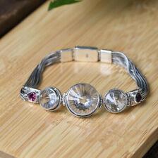 I05 Bracelet Sterling Silver 925 Round Rock Crystal 7 1/8in Long