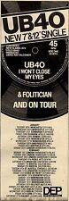 6/2/1982Pg13 Album Advert 15x5 Ub40, I Won't Close My Eyes (with Folitician)