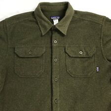 PATAGONIA Mens Thick Fleece Shirt M Long Sleeve Button Down Green Polyester EUC