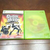 "Lot 2 Guitar Hero Games ""World Tour"" and ""Aerosmith"" Xbox 360 1 CIB 1 DISC ONLY"