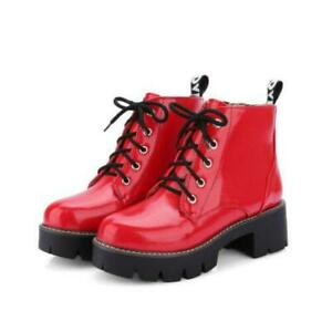 Womens Patent Leather Lace up Round Toe Ankle Collegiate Combat Boots Shoes