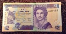 Belize Banknote. Two Dollars. Uncirculated. Dated 2014. Queens Image.