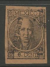 """timbres-Mexique. 1868. 6c Noir sur Marron """"Monterey"""" Arrondissement Nom. SG: 67."""