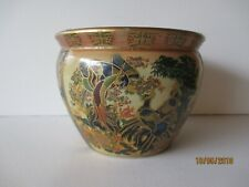 VINTAGE ASIAN SATSUMA PLANTER-FISH BOWL - HAND PAINTED - SEE PICTURES -FREE SHPG