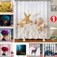 14 Types Waterproof Polyester Shower Bath Curtain Bathroom W/ 12 Hooks 180*180CM