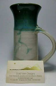 **Vintage Beautiful Signed Ceramic Pottery Pitcher Gray Blue - Alaskan Collector