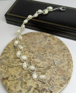 White real freshwater pearl extending clasp bracelet gift boxed