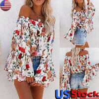 US Women Sexy Off Shoulder T-Shirt Tops Ladies Floral Long Flare Sleeve Blouse