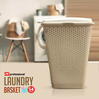 Rattan Laundry Bin Basket Washing Clothes Toy Accessory Storage Hamper 54L Cream