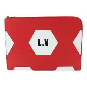 LOUIS VUITTON Epi Pochette Jour GM Clutch Bag Rouge White M63232 Purse 90080843
