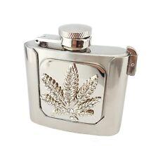 Flask Belt Buckle with Marijuana Design